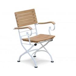Classic Bistro Chair, Folding Armchair, Teak, Satin White