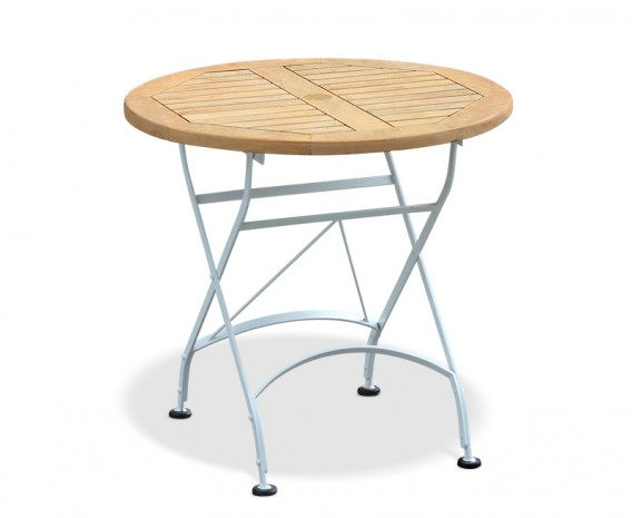 Round Bistro Table, Wooden Garden Bistro Table, Satin White – 0.8m