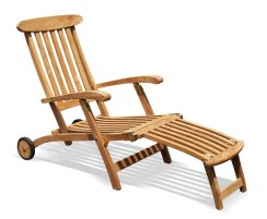 Teak Steamer Chair with wheels