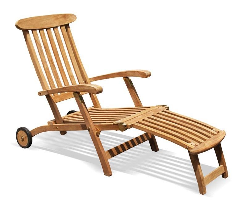 Teak Steamer Chair with wheels