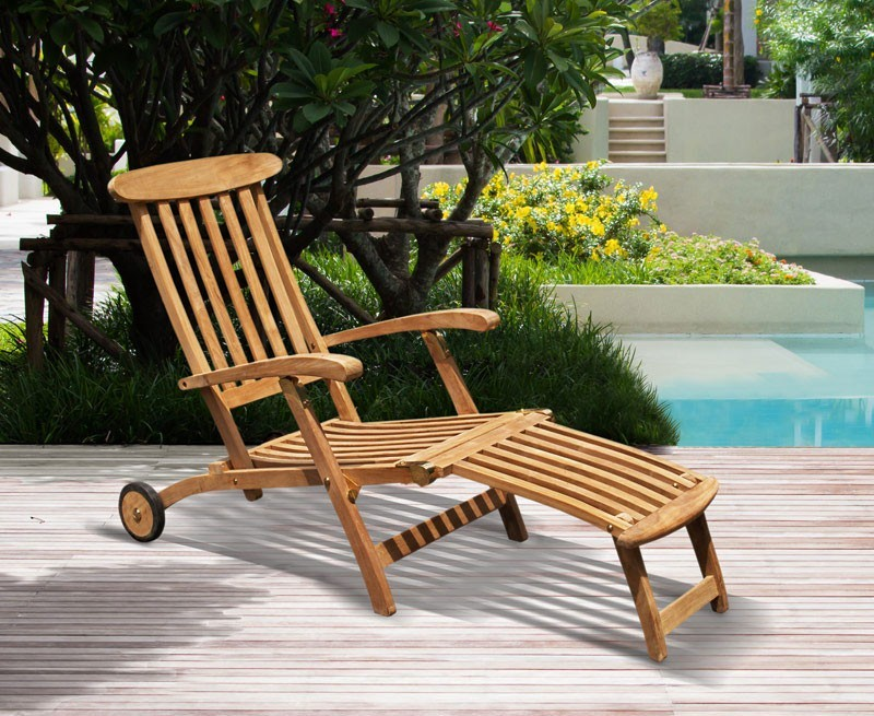 Teak Steamer Chair With Wheels; Garden Steamer Chair