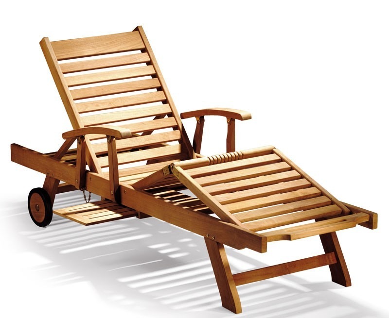 Luxury Teak Sun Lounger with arms