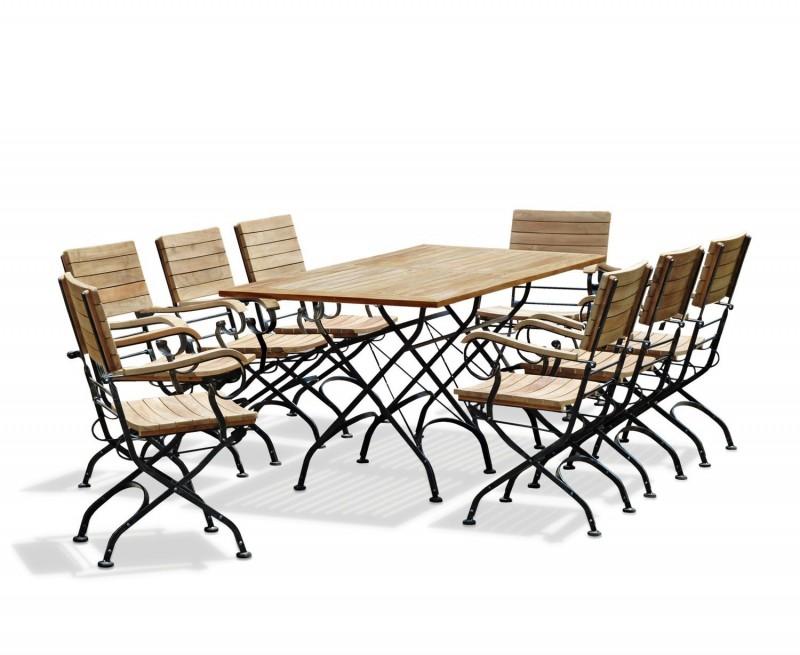 Bistro Rectangular 1.8m Table with 8 Armchairs, Folding Bistro Set, Raven Black