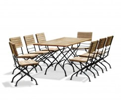 Bistro Rectangular 1.8m Table with 8 Dining Chairs, Folding Bistro Set, Raven Black