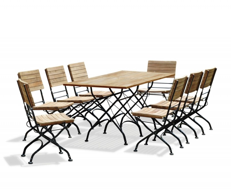 Bistro Rectangular 1.8m Table With 8 Dining Chairs
