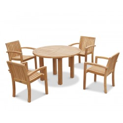 Titan Round 1.2m Table with 4 Monaco Stacking Chairs