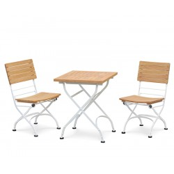 Bistro Square 0.6m Table with 2 Side Chairs, Satin White