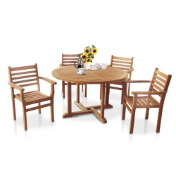 Canfield Round 1.3m Table & 4 Yale Stacking Chairs