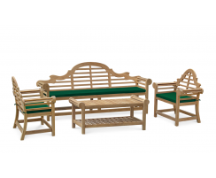 Lutyens-Style 2.25m Bench, Chairs & Coffee Table, Garden Patio Set