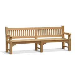 Braemar Large Heavy Duty Teak Garden Bench – 2.4m