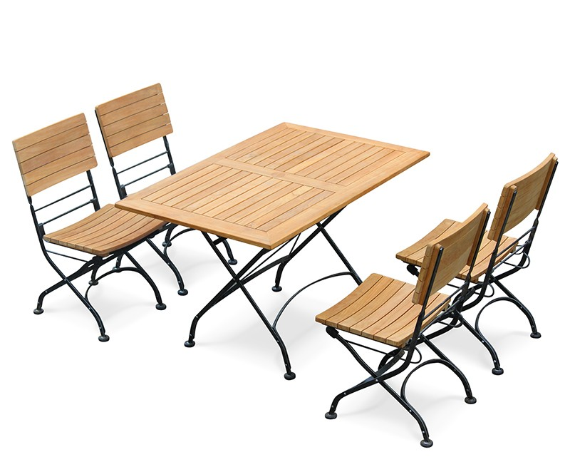 Bistro Folding Rectangular Table 1.2m with 4 Side Chairs – Black