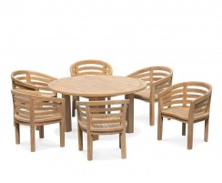 6 Seater Teak Garden Dining Set, Titan Round 1.5m Table with Kensington Banana Chairs