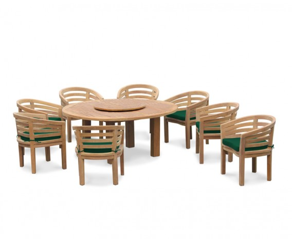 8 Seater Patio Set, Titan Round 1.8m Table with Kensington Banana Chairs