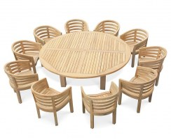 10 Seater Garden Dining Set, Titan Round 2.2m Table with Kensington Banana Chairs
