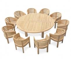 Titan Round Table 2.2m with 10 Kensington Banana Chairs