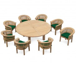8 Seater Garden Dining Set, Titan Round 2.2m Table with Deluxe Banana Chairs