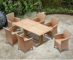 6 Seater Garden Dining Set with Cadogan 1.8m Table and Riviera Armchairs