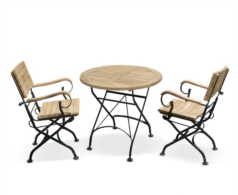 Bistro Round 0.8m Table & 2 Armchairs Teak Folding Dining Set