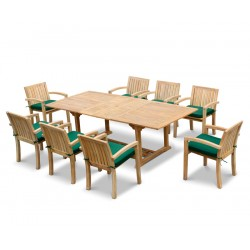 Dorchester Extending 1.8 - 2.4m Table & 8 Monaco Stacking Chairs