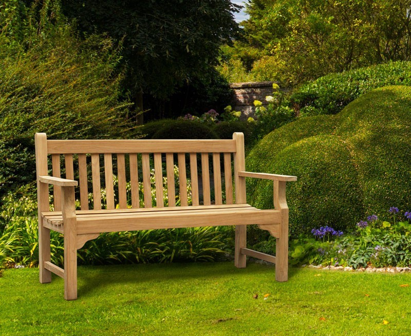 Taverners 3 Seater Teak Wood Garden Bench Outdoor Park Bench