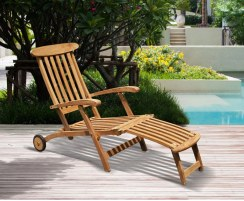 Halo Teak Steamer Chair with Wheels, Brass Fittings & Cushion