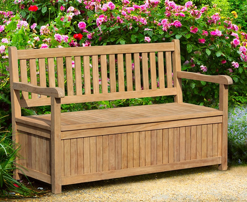 Windsor Wooden Garden Storage Bench with arms - 1.5m