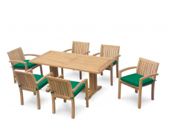 6 Seater Garden Dining Set with Cadogan 1.8m Table and Monaco Stacking Chairs