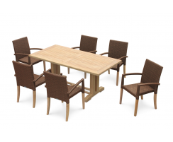 Cadogan Pedestal Table 1.8m and 6 St. Tropez Stacking Chairs