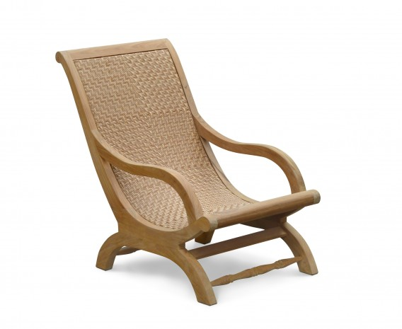 Riviera Garden Lounge Chair, Teak and Rattan Easy Chair