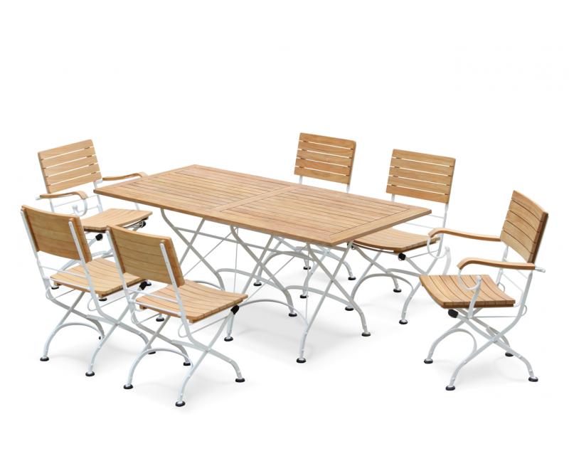 6 Seater Garden Set With Bistro Rectangular Table 1.8m