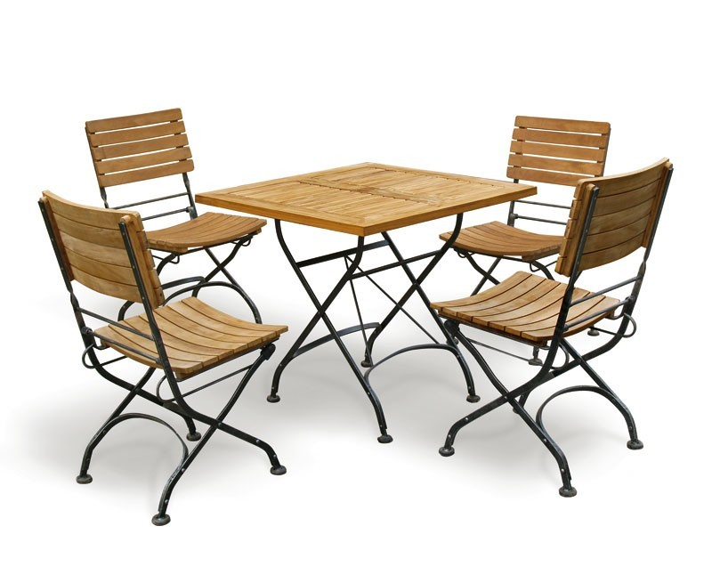 Bistro Square 0 8m Table Amp 4 Chairs Teak Amp Metal Folding