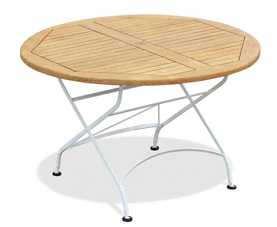 Round Folding Bistro Table, Satin White – 1.2m
