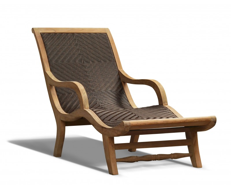 Riviera Teak And Rattan Sun Lounger All Weather Wicker