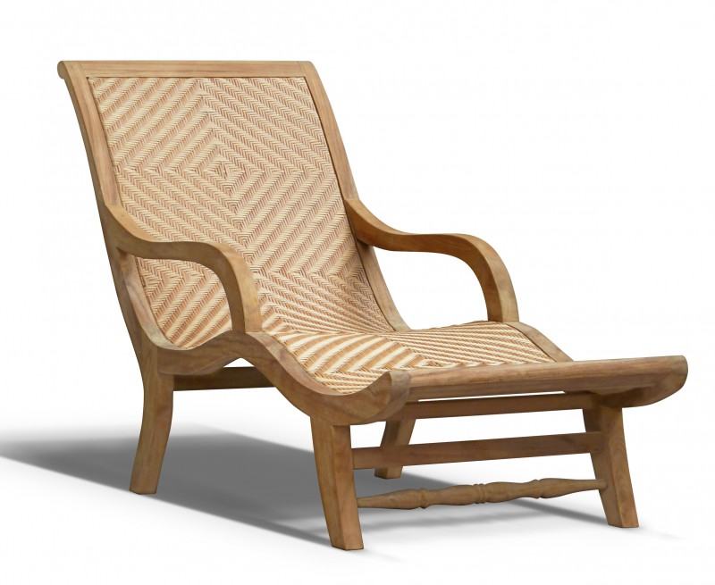 Riviera Teak and Rattan Sun Lounger, All-Weather Wicker Lounger
