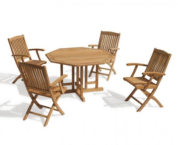 Berrington Octagonal Gateleg 1.2m Table & 4 Bali Armchairs