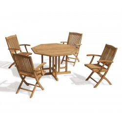 Berrington Octagonal Gateleg 1.2m Table & 4 Bali Armchairs