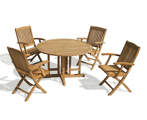 Berrington Round Gateleg 1.2m Table & 4 Bali Armchairs
