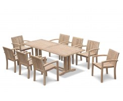 Cadogan 8 Seater Teak Table 2.25m & Monaco Stacking Chairs