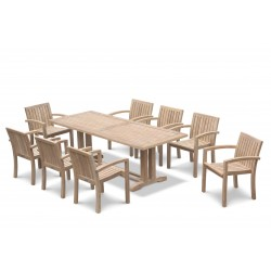 Cadogan 8 Seater Teak Table 2.25m & Monaco Stacking Chairs