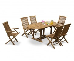 Brompton Bijou Extending 1.2 - 1.8m Table & 6 Ashdown Folding Chairs