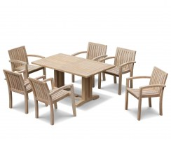 Teak Garden Set with Cadogan Rectangular Table 1.5m & 6 Monaco Stacking Chairs