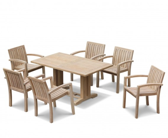 Cadogan Rectangular Table 1.5m and 6 Monaco Stacking Chairs
