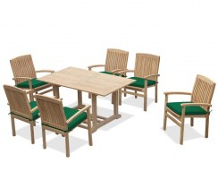 Teak Patio Set with Hilgrove Rectangular Table 1.5m & 6 Bali Stacking Chairs