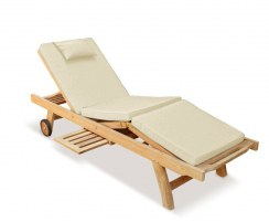 Luxury Sun Lounger with cushion, Teak