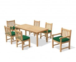 6 Seater Outdoor Dining Set with Sandringham Rectangular Table 1.5m, Windsor Side Chairs & Armchairs