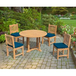 Canfield Round Garden Table 1.2m & 4 Ascot Dining Chairs Set