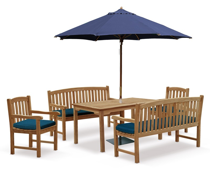 Sandringham 8 Seater Table 1.5m with Clivedon Benches and Armchairs