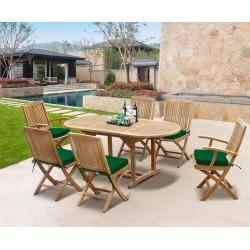 Brompton Bijou Extending Table 1.2 - 1.8m & 6 Rimini Folding Side and Armchairs