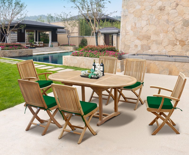 Brompton Bijou Extending Table 1.2 - 1.8m & 6 Rimini Folding Side Chairs and Armchairs