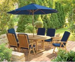 Brompton Extending 1.2 - 1.8m Table & 6 Bali Recliners Dining Set